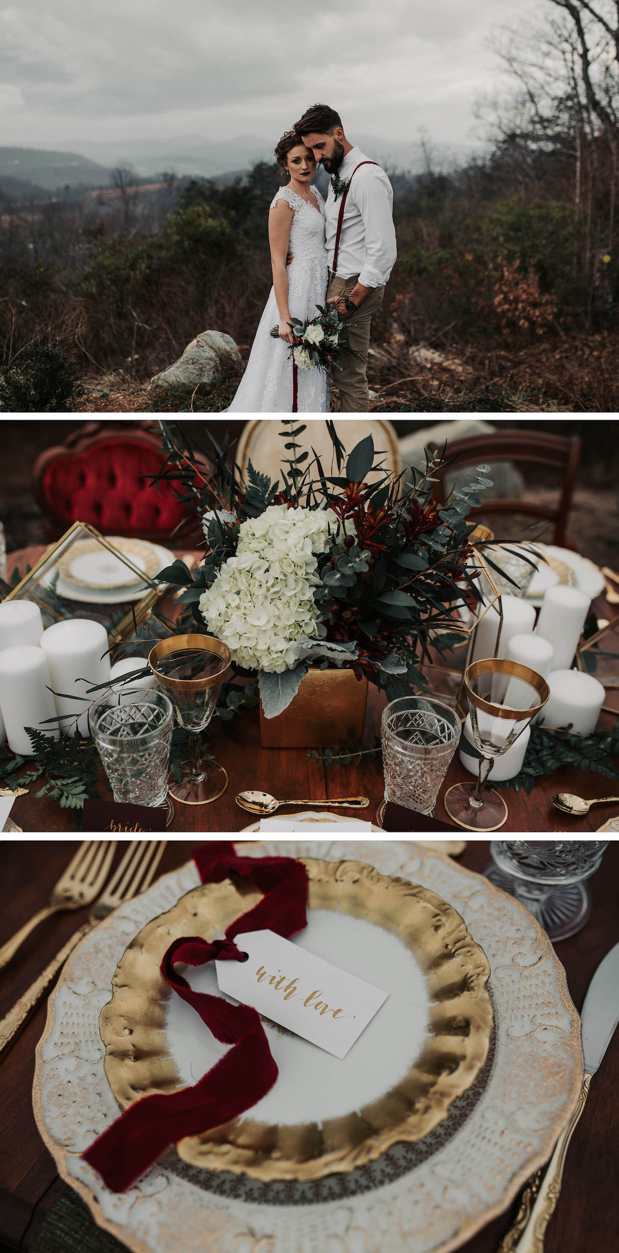 Romantic Charlotte Area Wedding Styled Shoot at The Cabin Ridge in the Great Smoky Mountains